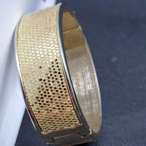 Gold Tone Cuff Clamp Style Bracelet Fabric Accent
